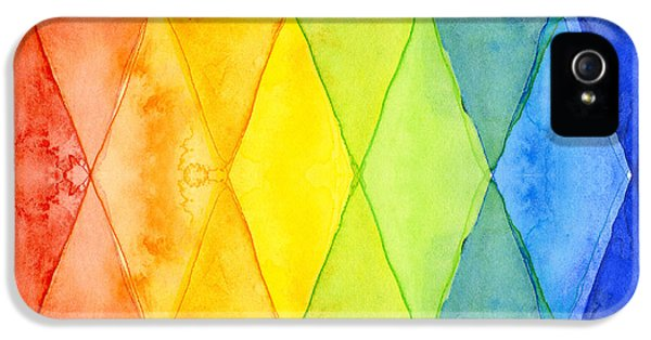 Weather iPhone 5 Case - Watercolor Rainbow Pattern Geometric Shapes Triangles by Olga Shvartsur