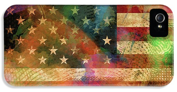 We The People Distressed Grunge Usa American Flag With Washington Hidden Portrait IPhone 5 Case by Design Turnpike