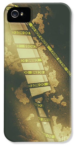 Weapon Wrapped In Yellow Crime Scene Ribbon IPhone 5 / 5s Case by Jorgo Photography - Wall Art Gallery
