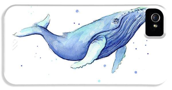 Whale Watercolor Humpback IPhone 5 Case by Olga Shvartsur