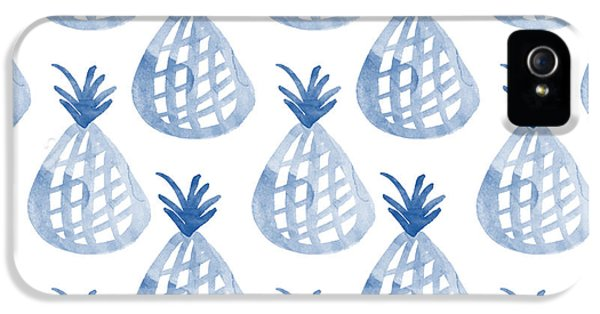 White And Blue Pineapple Party IPhone 5 Case by Linda Woods