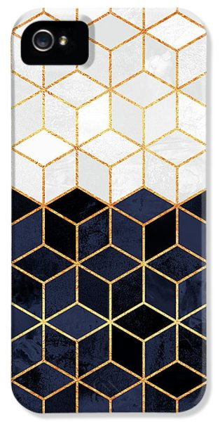 White And Navy Cubes IPhone 5 Case by Elisabeth Fredriksson