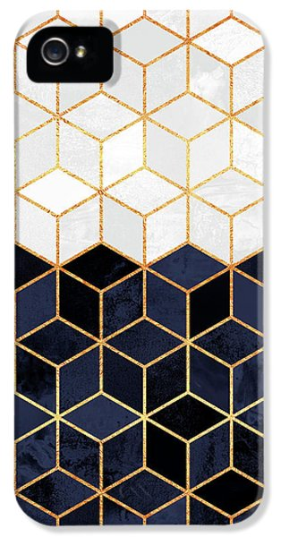 iPhone 5 Case - White And Navy Cubes by Elisabeth Fredriksson