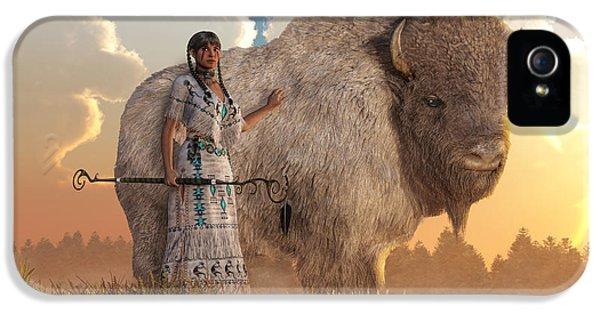 White Buffalo Calf Woman IPhone 5 Case by Daniel Eskridge