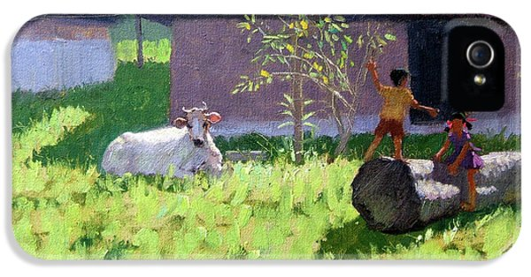 White Cow And Two Children IPhone 5 Case by Andrew Macara