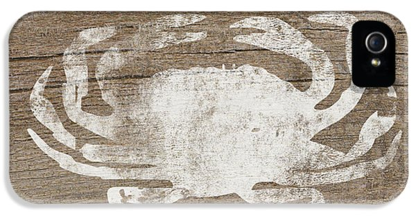 White Crab On Wood- Art By Linda Woods IPhone 5 Case