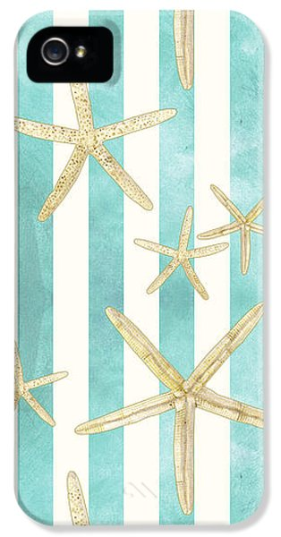 White Finger Starfish Watercolor Stripe Pattern IPhone 5 Case