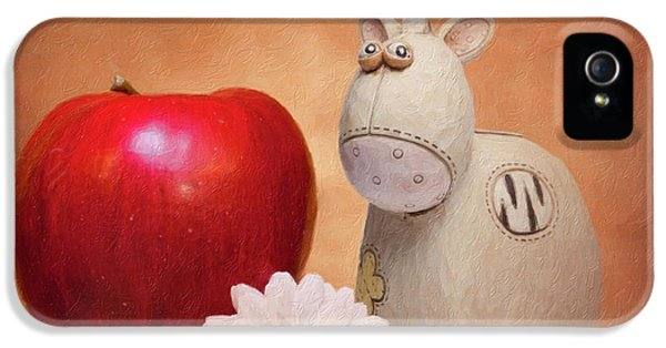 Daisy iPhone 5 Case - White Horse With Apple by Tom Mc Nemar