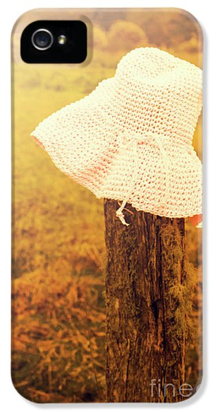 White Knitted Hat On Farm Fence IPhone 5 Case by Jorgo Photography - Wall Art Gallery