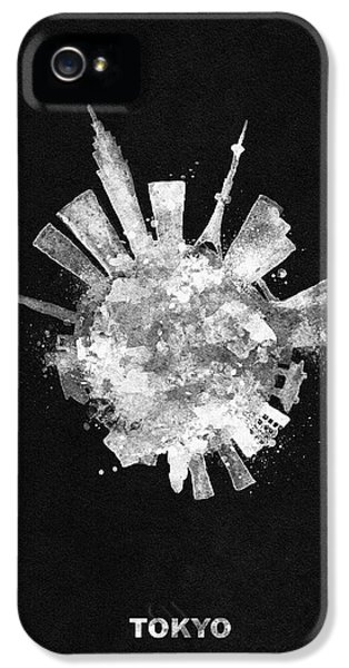 Tokyo Skyline iPhone 5 Case - White Skyround / Skyline Art Of Tokyo, Japan by Inspirowl Design