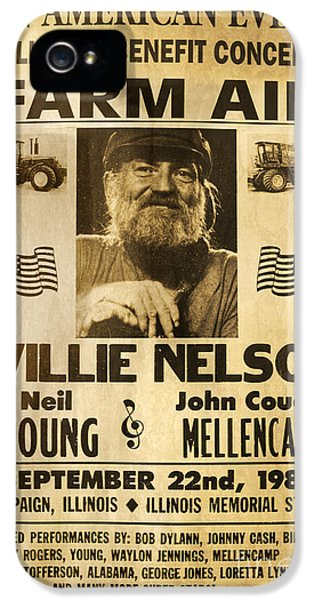 Johnny Cash iPhone 5 Case - Willie Nelson Neil Young 1985 Farm Aid Poster by John Stephens