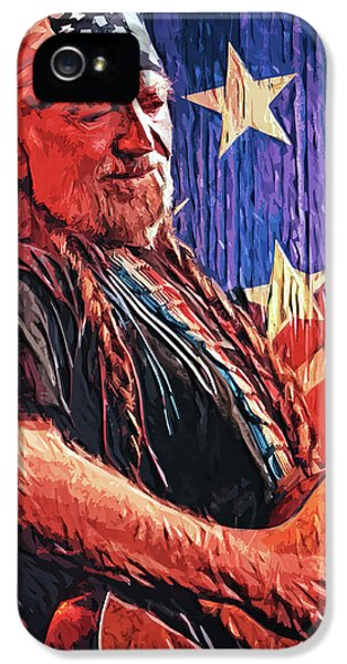 Johnny Cash iPhone 5 Case - Willie Nelson by Taylan Apukovska