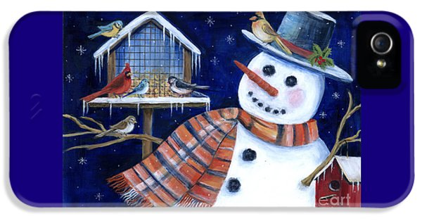 Bluejay iPhone 5 Case - Winter Birds Delight by Marilyn Dunlap