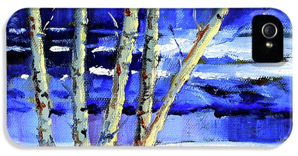 IPhone 5 Case featuring the painting Winter By The River by Nancy Merkle