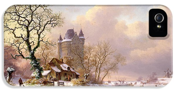 Castle iPhone 5 Cases - Winter Landscape with Castle iPhone 5 Case by Frederick Marianus Kruseman