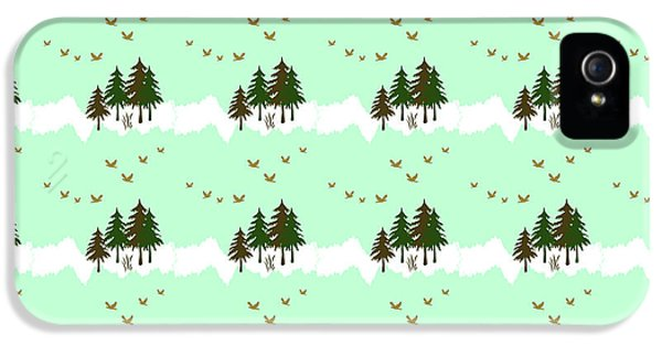 IPhone 5 Case featuring the mixed media Winter Woodlands Bird Pattern by Christina Rollo