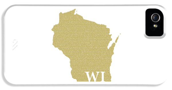 Wisconsin State Map With Text Of Constitution IPhone 5 Case by Design Turnpike