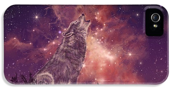 Wolf And Sky Red IPhone 5 Case by Bekim Art