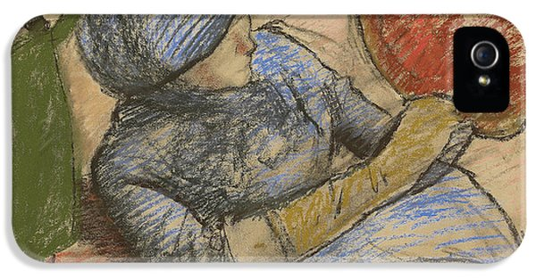 Woman Holding A Hat In Her Hand IPhone 5 Case by Edgar Degas