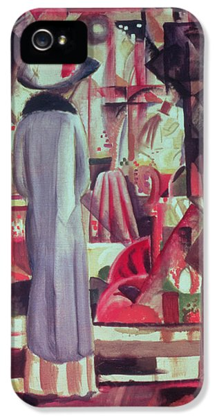 Woman In Front Of A Large Illuminated Window IPhone 5 Case by August Macke