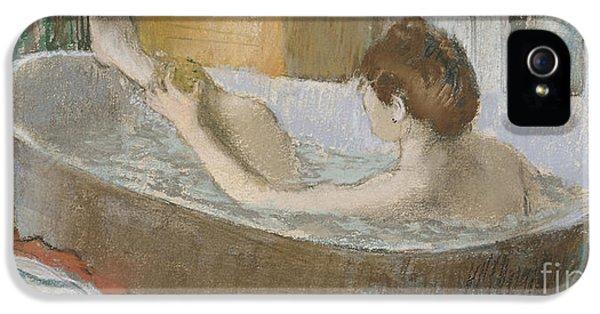 Woman In Her Bath IPhone 5 Case by Edgar Degas