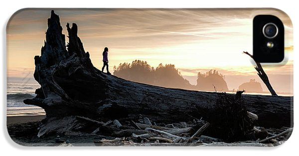 Woman On A Washed Up Tree On The Beach At Sunset  IPhone 5 Case by Brandon Alms