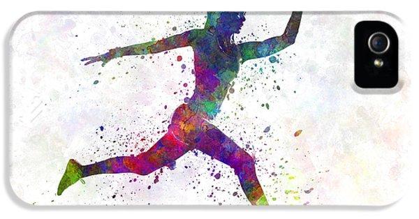 Woman Runner Running Jumping IPhone 5 Case by Pablo Romero