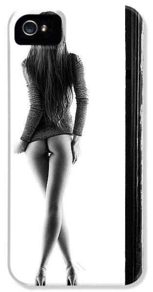 Cross iPhone 5 Case - Woman Standing In Doorway by Johan Swanepoel