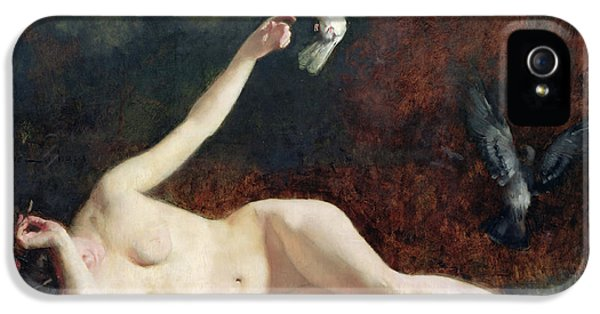 Woman With Pigeons IPhone 5 Case by Ernst Philippe Zacharie