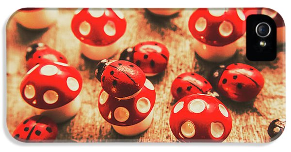 Ladybug iPhone 5 Case - Wooden Bugs And Plastic Toadstools by Jorgo Photography - Wall Art Gallery