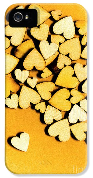 Wooden Hearts With Sentimental Single IPhone 5 Case by Jorgo Photography - Wall Art Gallery