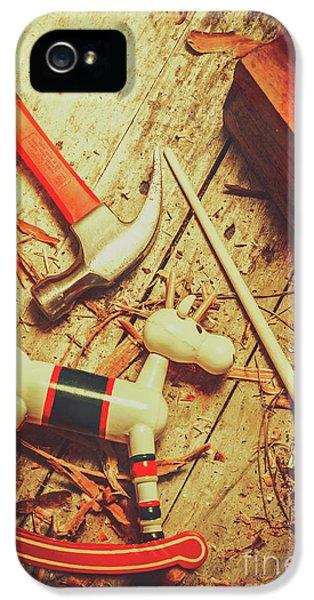 Wooden Model Toy Reindeer. Christmas Craft IPhone 5 Case