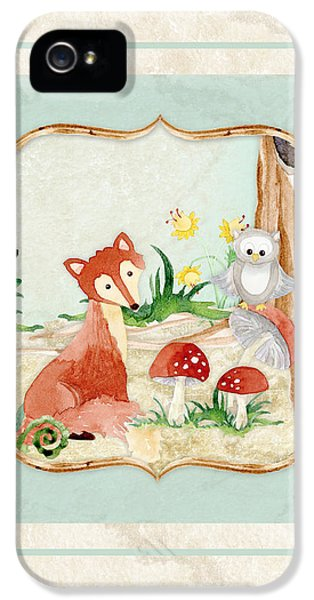 Woodland Fairy Tale - Fox Owl Mushroom Forest IPhone 5 Case by Audrey Jeanne Roberts