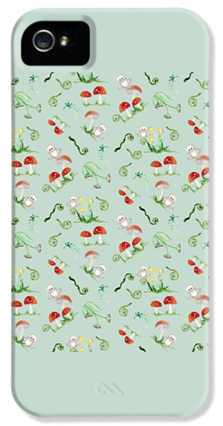 Woodland Fairy Tale - Red Mushrooms N Owls IPhone 5 / 5s Case by Audrey Jeanne Roberts