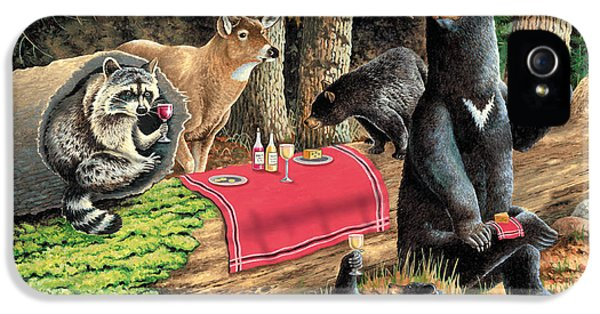 Raccoon iPhone 5 Case - Woodland Wine Tasting by JQ Licensing