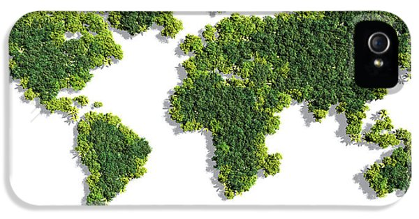 World Map Made Of Green Trees IPhone 5 Case by Johan Swanepoel