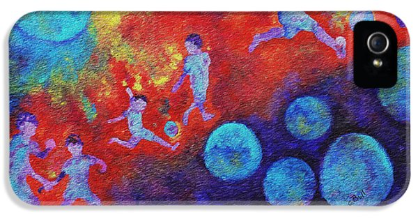 IPhone 5 Case featuring the painting World Soccer Dreams by Claire Bull
