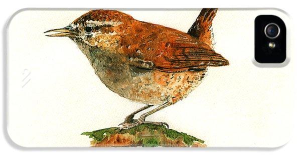 Wren iPhone 5 Case - Wren Bird Art Painting by Juan  Bosco
