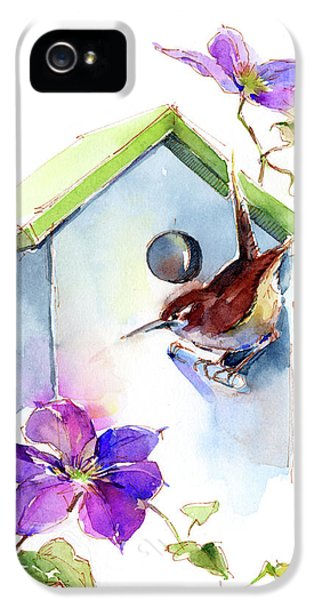 Wren iPhone 5 Case - Wren With Birdhouse And Clematis by John Keeling
