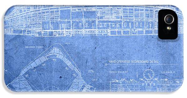 Wrigley Field Chicago Illinois Baseball Stadium Blueprints IPhone 5 Case by Design Turnpike
