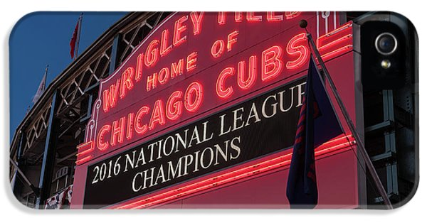 Wrigley Field Marquee Cubs National League Champs 2016 IPhone 5 Case by Steve Gadomski
