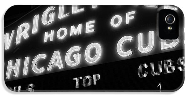 Wrigley Field Sign Black And White Picture IPhone 5 / 5s Case by Paul Velgos