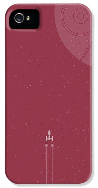 Space Ships iPhone 5 Case - Y-wing Bomber Meets Death Star by Samuel Whitton