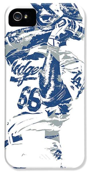 Los Angeles Dodgers iPhone 5 Case - Yasiel Puig Los Angeles Dodgers Pixel Art 10 by Joe Hamilton