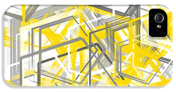 Yellow And Gray Geometric Shapes Art IPhone 5 Case by Lourry Legarde