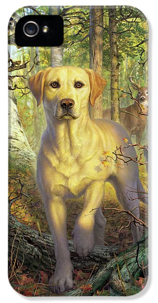 Squirrel iPhone 5 Case - Yellow Lab In Fall by Mark Fredrickson