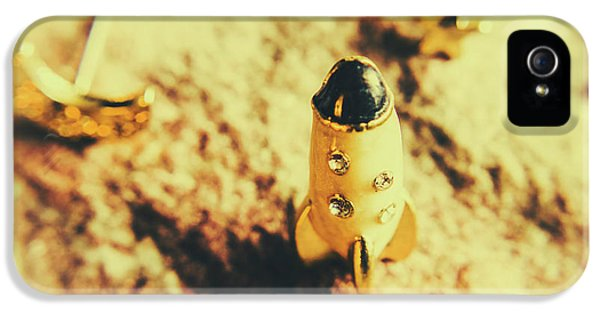 Yellow Rocket On Planetoid Exploration IPhone 5 Case by Jorgo Photography - Wall Art Gallery
