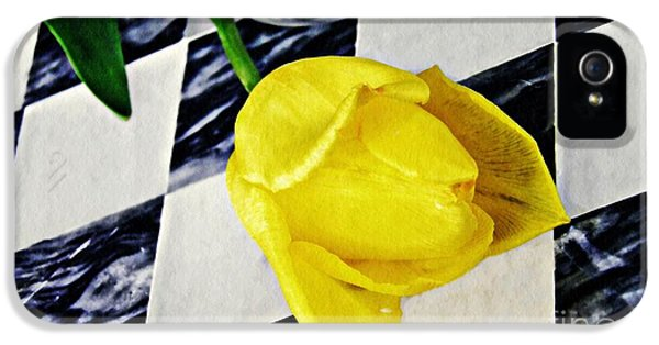 Yellow Tulip On The Checker Board IPhone 5 Case by Sarah Loft