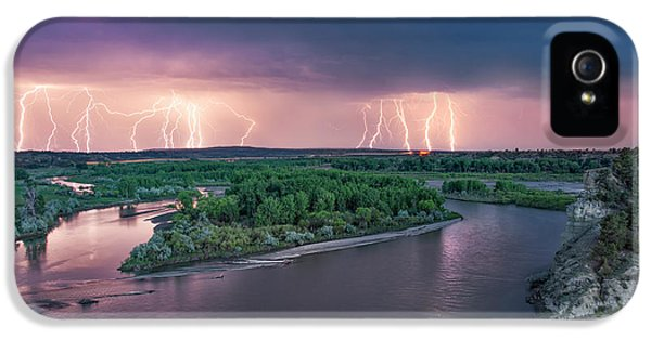 Yellowstone River Lightning IPhone 5 Case by Leland D Howard