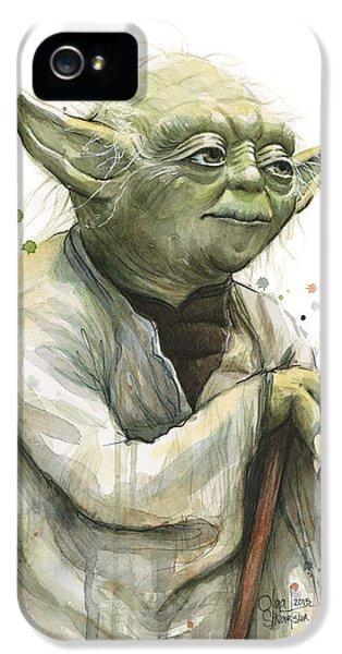Yoda Watercolor IPhone 5 Case by Olga Shvartsur